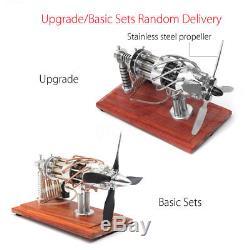 16 Cylinder Hot Air Stirling Engine Motor Model Education Aircraf Propeller Toy