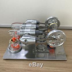 4 Cylinder Hot Air Stirling Engine Model Toy Micro V4 Engine Generator Motor Toy