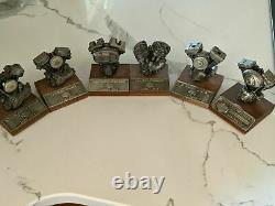 6 Harley Davidson collectable Authentic replica pewter motor engine models
