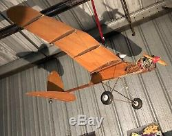 Antique Vintage Model Airplane RC Motor Wood Spark Engine Gas 7 Foot Wingspan