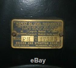 Briggs & Stratton Model FH Slant FIn, Brass Carb Gas Engine Motor