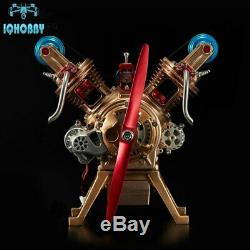 Creative DIY Full Metal Assembly Engine Motor Kit V2 2-Cylinder Model Toy Gift