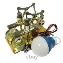 Double Cylinder Hot Air Stirling Engine Motor Model Toy Generator New R3A2 C9V4