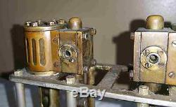 Early 1900's Miniature Vertical 2 Cylinder Marine Boat Steam Engine Motor Model