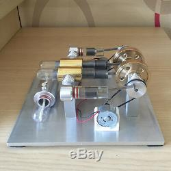 Hot Air Stirling Engine Model Toy 2-Cylinder DIY Electricity Generator Motor Toy