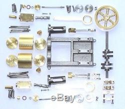 Live Steam Twin Cylinder Mill Model Steam Engine Fully Machined Metal Kit