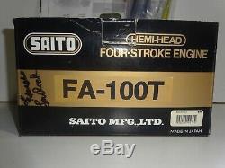 New Saito FA-100T Twin Four Stroke R/C Glow Engine Model Airplane Motor HEMI