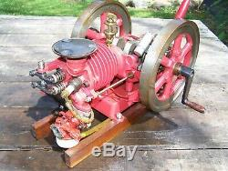 Old Model Air Cooled Unusual Hit Miss Type Flywheel Gas Engine Motor Steam NICE