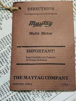 Rare Maytag Model S43 Multi Motor Engine w book