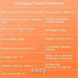 V2 Double Cylinder Car Engine Model Metal Craftsmen Motor Assembly DIY Kit Toy