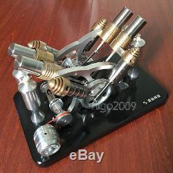 V-4 Hot Air Stirling Engine Motor Toy External Combustion Engine Generator Model