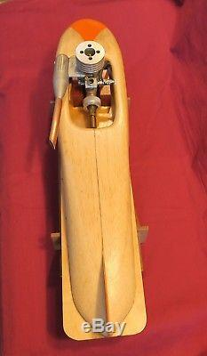 Wood Model Tether Boat Hydro Gas Vintage O. S. FSR C. 10 Engine Motor